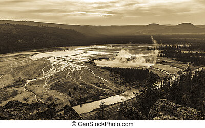 Grand prismatic spring, Yellowstone - View of Grand...