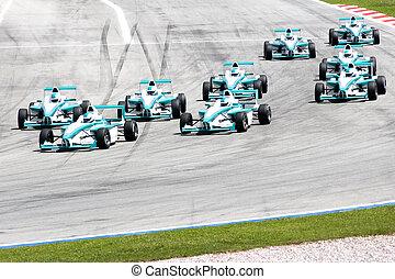Grand Prix Racing - Image of grand prix racing cars.