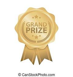 Grand prize win gold badges vector illustration