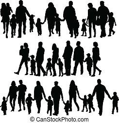 grand, profils, famille