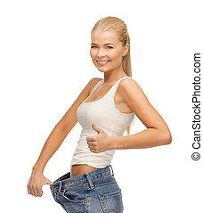 grand, projection, femme, sportif, pantalon