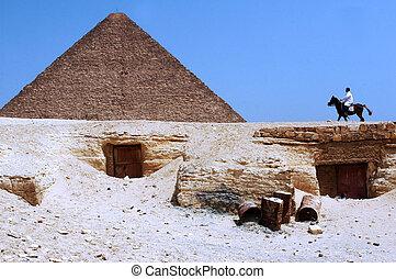 grand, pyramides, giza
