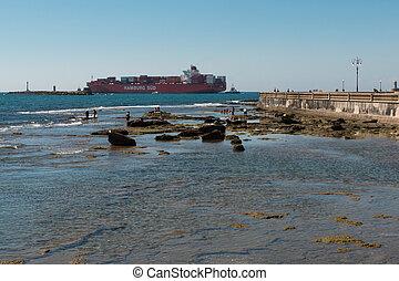 grand, récipient bateau, littoral