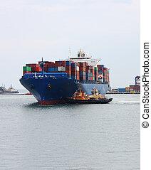 grand, récipient cargaison, bateau