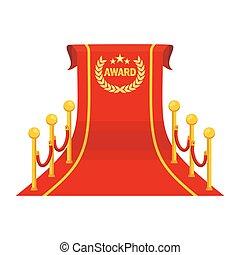 grand, récompense, moquette rouge