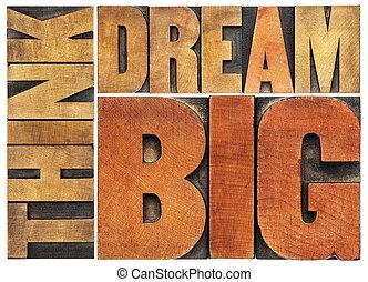 grand, résumé, mot, rêve, penser