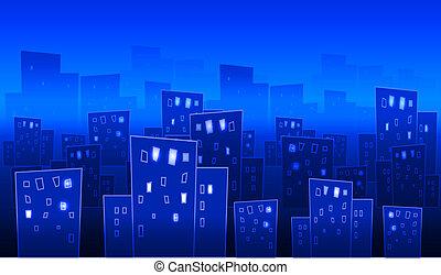 grand, résumé, ville, nuit