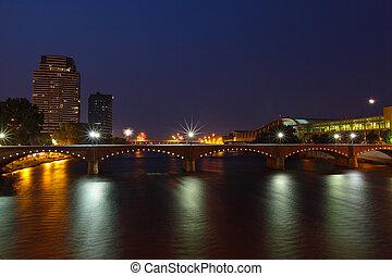 Grand Rapids at Night - Downtown Grand Rapids Michigan at...