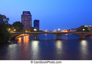 Grand Rapids Bridge at dusk in Michigan summer time