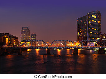 Grand Rapids City - Grand Rapids city at night in Michigan...