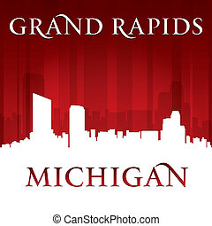 Grand Rapids Michigan city skyline silhouette red background...