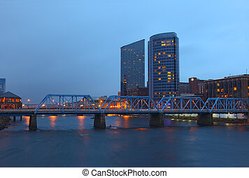Grand Rapids Michigan - Grand Rapids cityscape by twilight ...