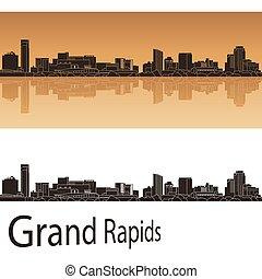 Grand Rapids skyline in orange background - Grand Rapids...