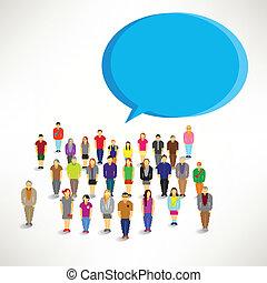 grand, rassembler, groupe, gens