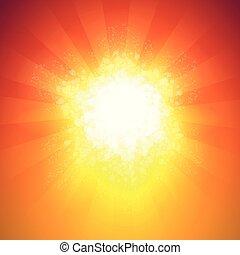 grand, rayons, éclater, lumière, -, space., couleurs, chaud, fond, copie, brillant, toile de fond