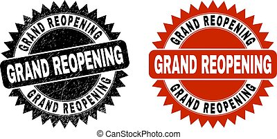 Black rosette GRAND REOPENING seal stamp. Flat vector distress seal stamp with GRAND REOPENING message inside sharp star shape, and original clean version. Watermark with grunge style.