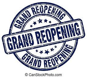 grand reopening blue grunge round vintage rubber stamp