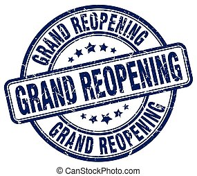 grand reopening blue grunge round vintage rubber stamp