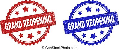 Rosette GRAND REOPENING seal stamps. Flat vector scratched seal stamps with GRAND REOPENING title inside rosette with stars, in blue and red color versions. Rubber imitations with corroded texture.