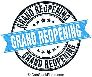 grand reopening round grunge ribbon stamp