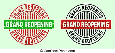 GRAND REOPENING bicolor round rubber imitations with grunged style. Flat vector grunge seals with GRAND REOPENING title inside round shape, in red, black, green colors. Rounded bicolor seals.