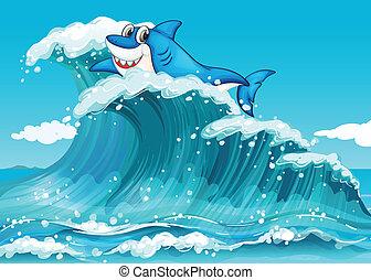 grand, requin, au-dessus, vagues
