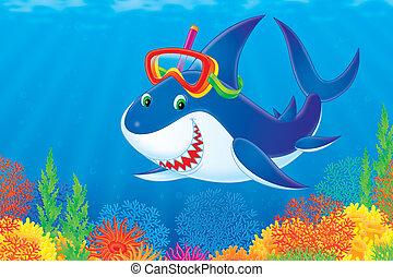 Blanc requin plongeur grand requin illustration - Coloriage grand requin blanc ...