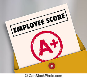 grand, revue, illustration, employé, partition, rapport, évaluation, carte, 3d