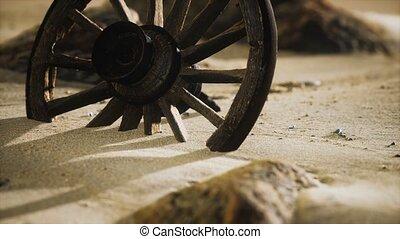 grand, roue, sable, bois
