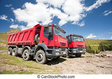 grand, rouges, camions décharge, deux
