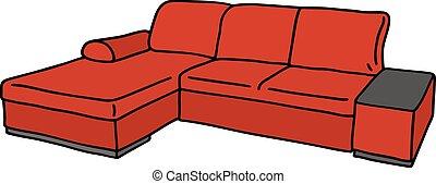 grand, rouges, divan