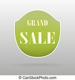 Grand sale. Green banner with the inscription on a grey background