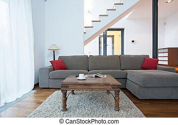 grand, salle de séjour, divan