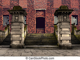 Grand sandstone steps entrance to industrial warehouse