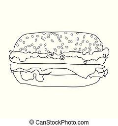 grand, sandwich, illustration, peint, vendange, style, hamburger, vecteur, délicieux