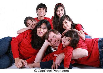 grand, sept, famille