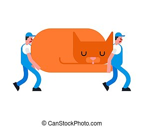 grand, service., déménageurs, grand, pet., illustration, chargeur, livraison, vecteur, en mouvement, cat., porter, déménageur, homme, concierges, holding.