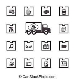 grand, set., icône, données, paquet