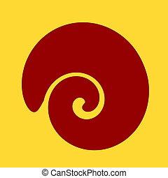 grand, shell., spirale, element., formé