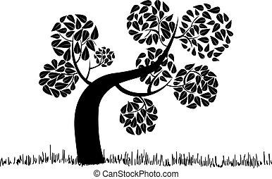 grand, silhouette, bouclé, arbre