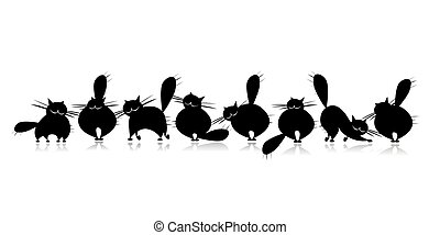 grand, silhouette, chats, famille, noir, rigolote