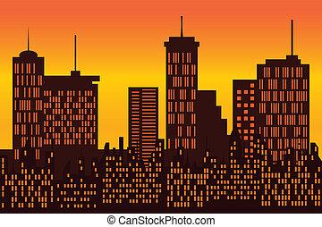 grand, silhouette horizon, ville