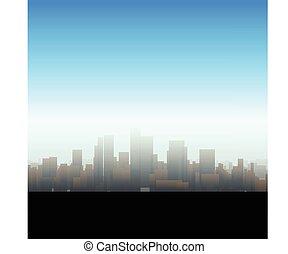 grand, silhouette, ville