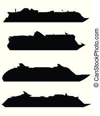 grand, silhouettes, bateaux, croisière
