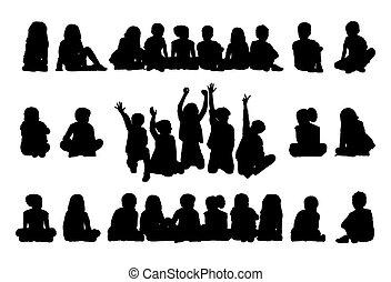 grand, silhouettes, ensemble, assis, écoliers