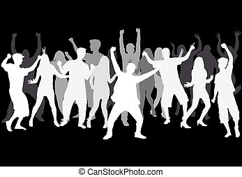 grand, silhouettes., group., danse, gens