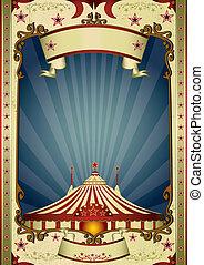 grand sommet, cirque, retro, nuit