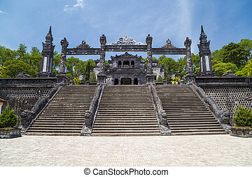 Grand stairs in Imperial Khai Dinh Tomb in Hue, Vietnam