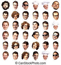 grand, sur, collection, personne, fond, faces, blanc