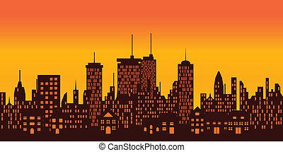 grand, sur, coucher soleil, ville